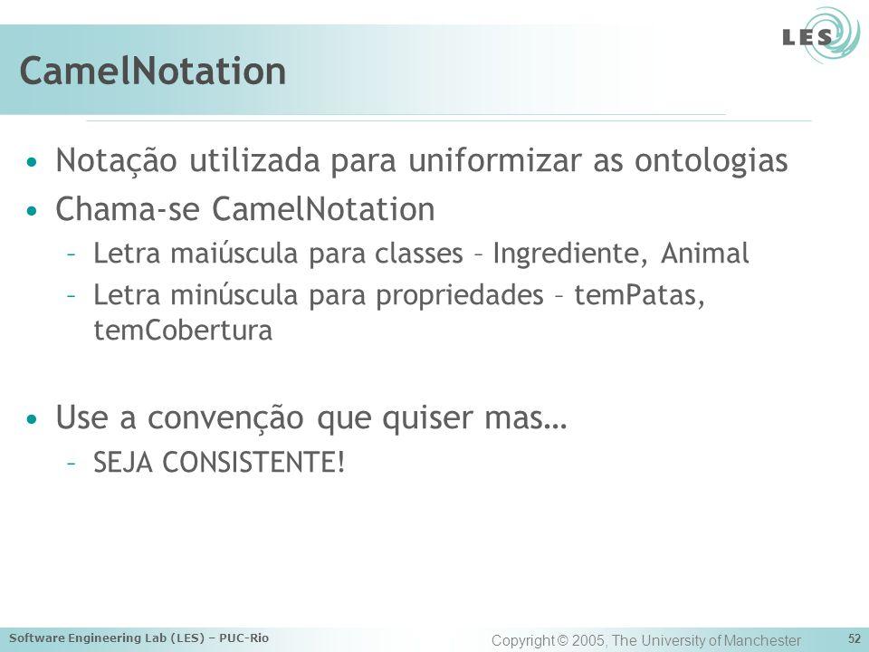 CamelNotation Notação utilizada para uniformizar as ontologias