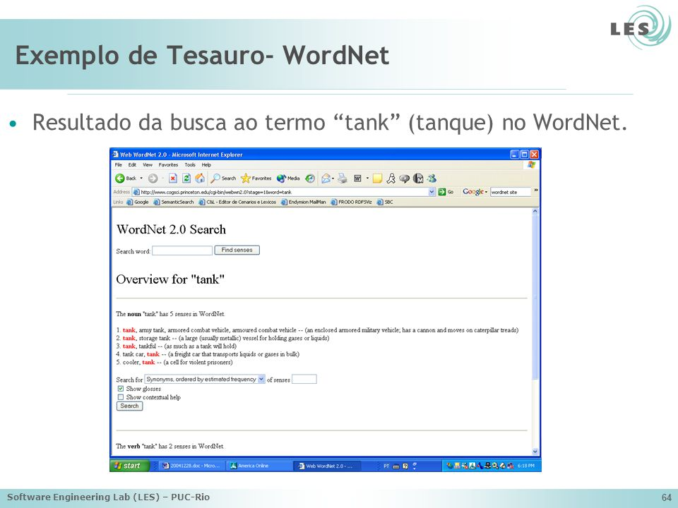 Exemplo de Tesauro- WordNet