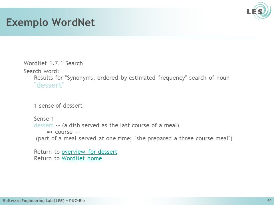 Exemplo WordNet WordNet 1.7.1 Search