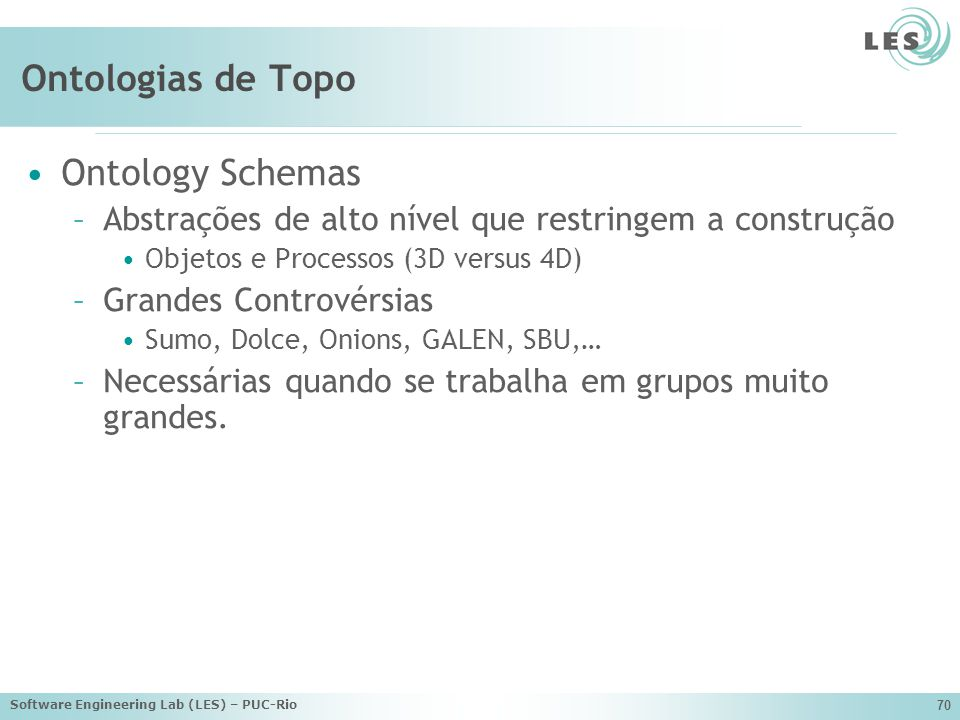 Ontologias de Topo Ontology Schemas