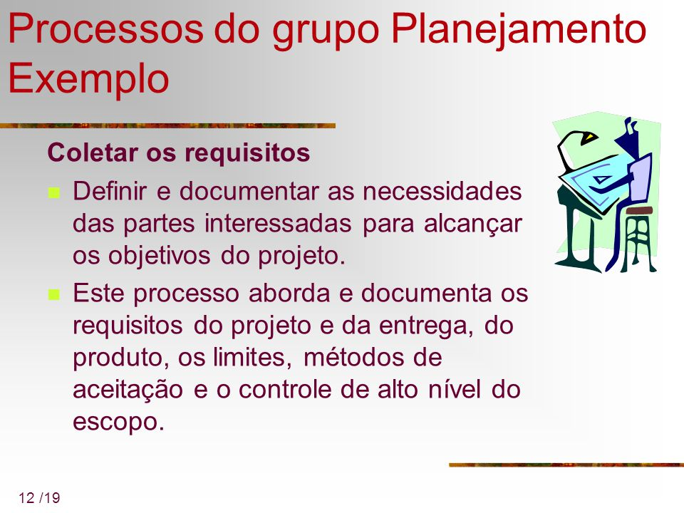 Processos do grupo Planejamento Exemplo