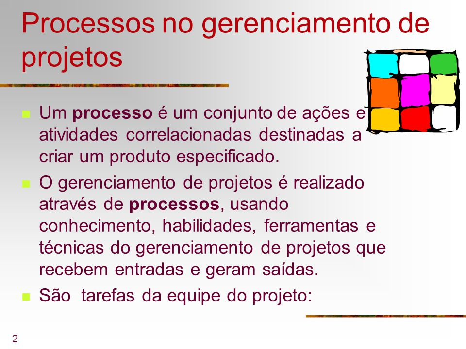 Processos no gerenciamento de projetos