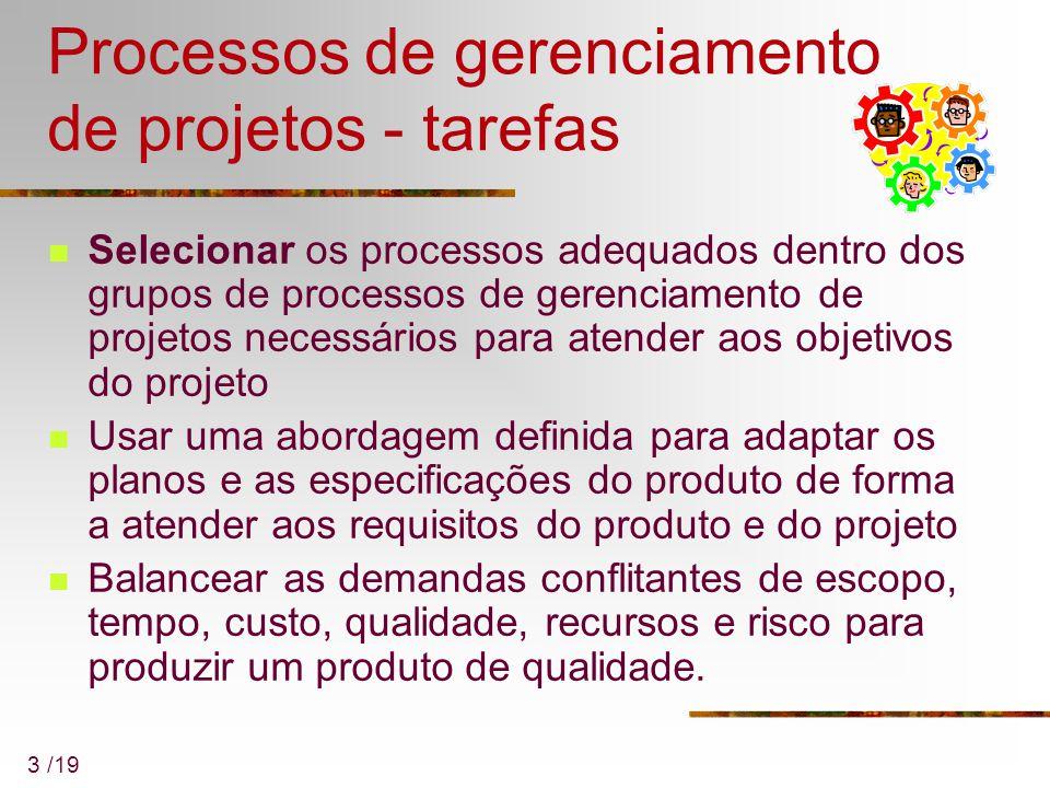 Processos de gerenciamento de projetos - tarefas