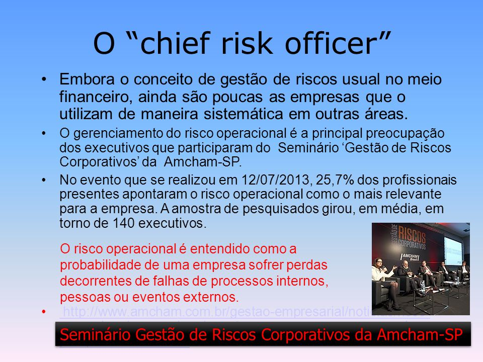 O chief risk officer