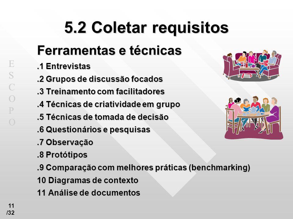5.2 Coletar requisitos Ferramentas e técnicas .1 Entrevistas