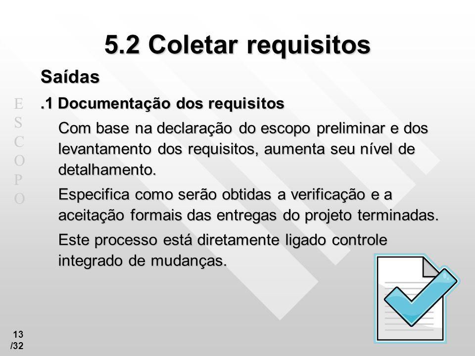 5.2 Coletar requisitos Saídas .1 Documentação dos requisitos