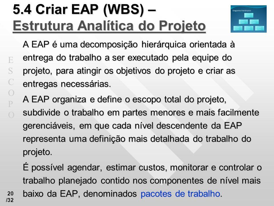 5.4 Criar EAP (WBS) – Estrutura Analítica do Projeto