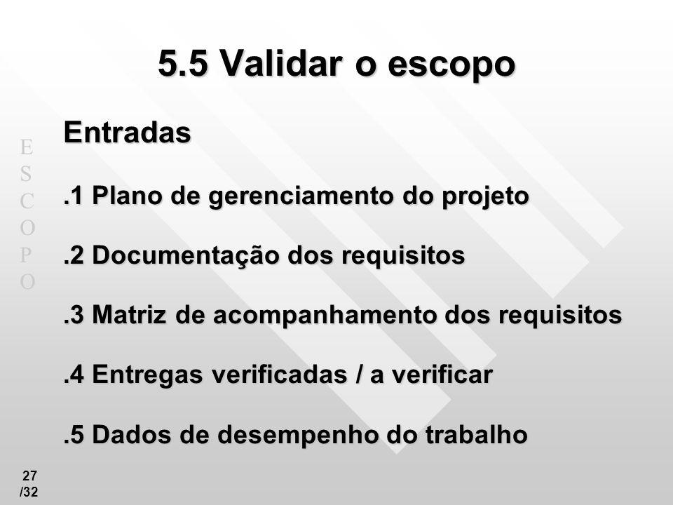 5.5 Validar o escopo Entradas .1 Plano de gerenciamento do projeto
