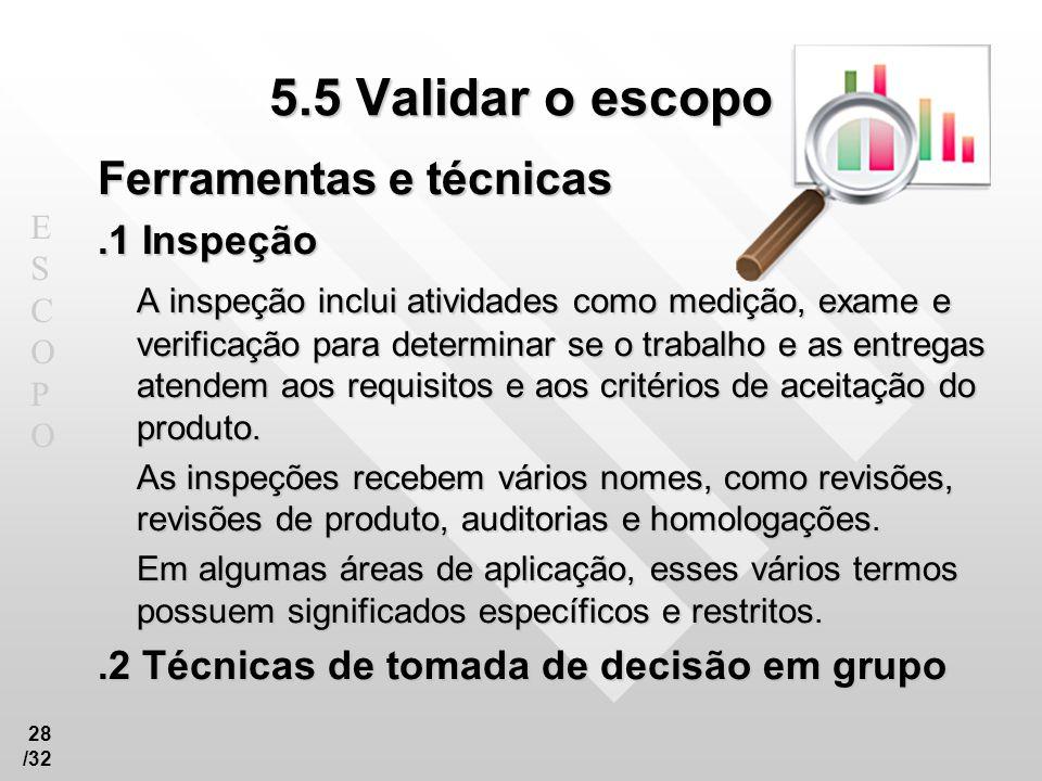 5.5 Validar o escopo Ferramentas e técnicas .1 Inspeção