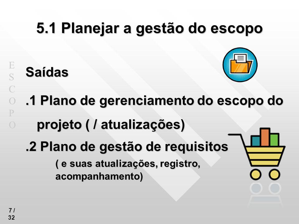 5.1 Planejar a gestão do escopo