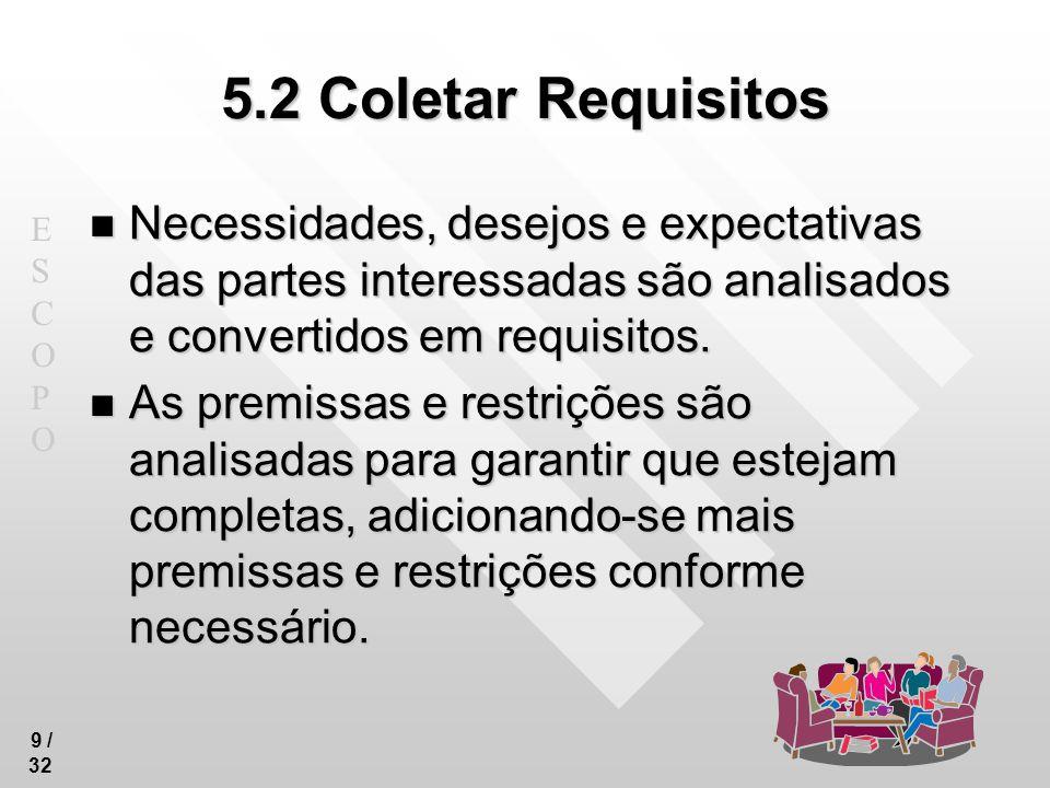 5.2 Coletar Requisitos Necessidades, desejos e expectativas das partes interessadas são analisados e convertidos em requisitos.