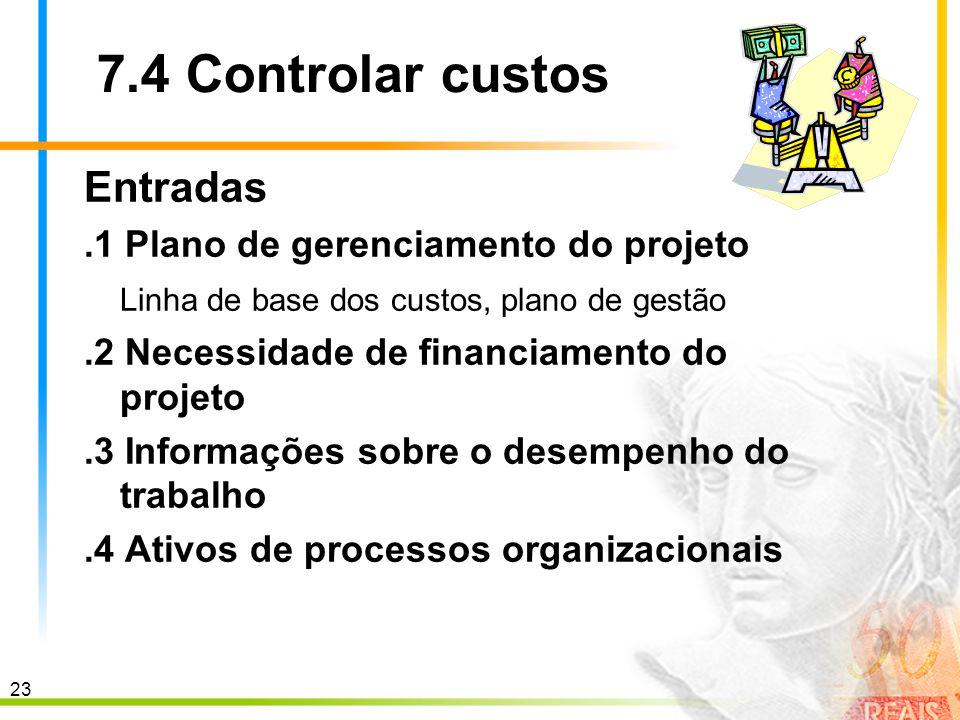 7.4 Controlar custos Entradas .1 Plano de gerenciamento do projeto