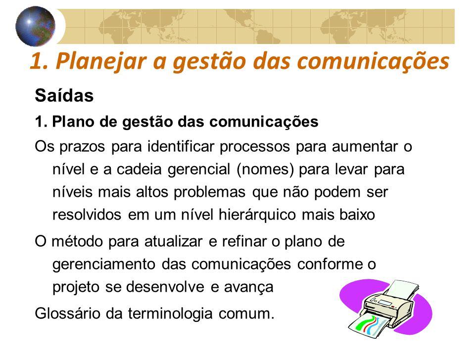 1. Planejar a gestão das comunicações