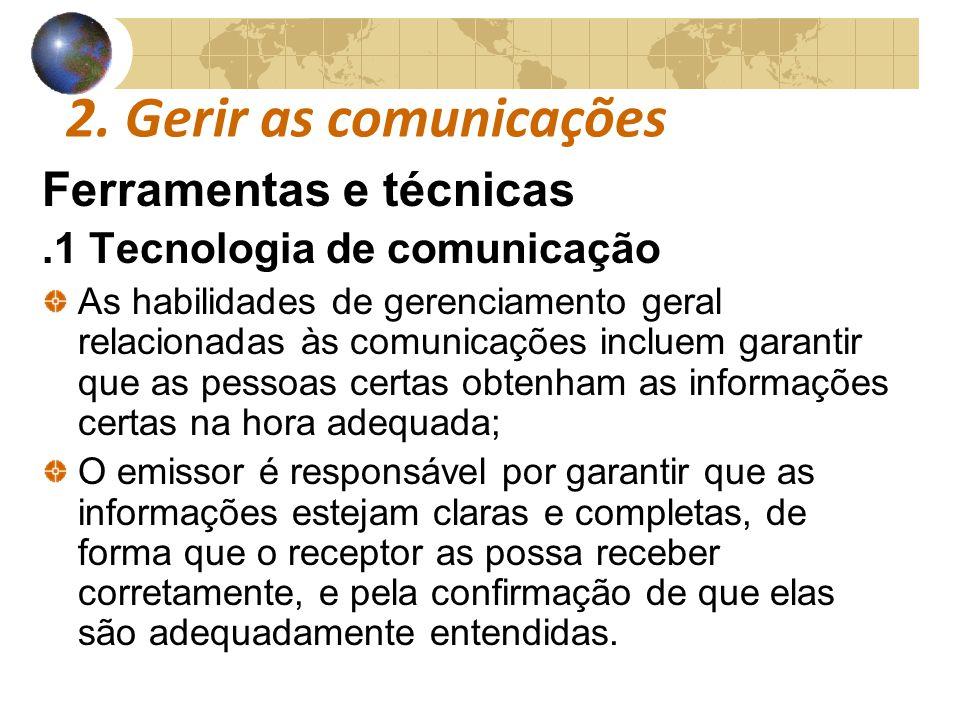 2. Gerir as comunicações Ferramentas e técnicas