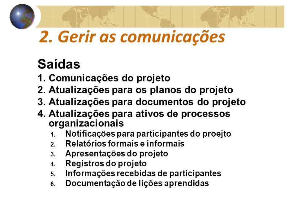 2. Gerir as comunicações Saídas Comunicações do projeto