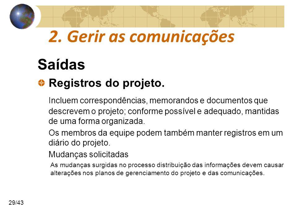 2. Gerir as comunicações Saídas Registros do projeto.