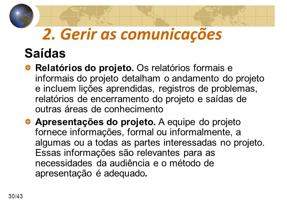 2. Gerir as comunicações Saídas
