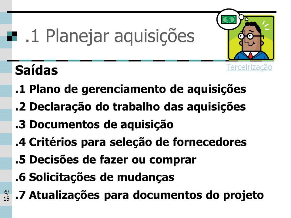 .1 Planejar aquisições Saídas .1 Plano de gerenciamento de aquisições