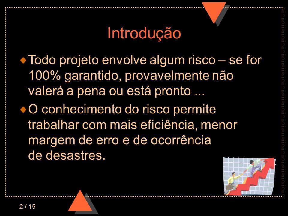 Introdução Todo projeto envolve algum risco – se for 100% garantido, provavelmente não valerá a pena ou está pronto ...