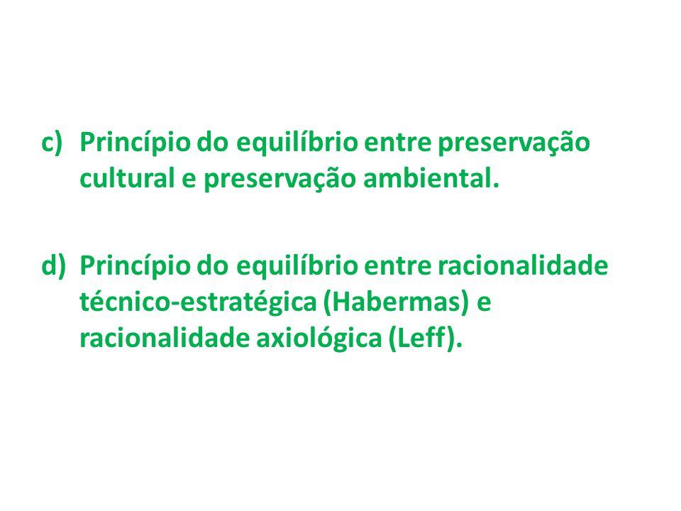Princípio do equilíbrio entre preservação cultural e preservação ambiental.