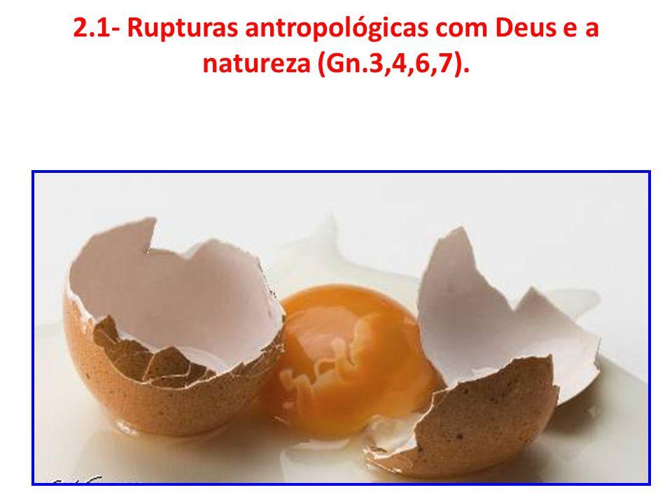 2.1- Rupturas antropológicas com Deus e a natureza (Gn.3,4,6,7).