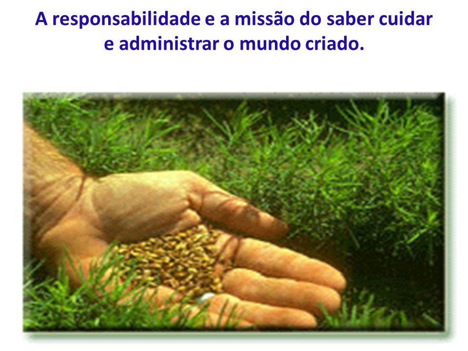 A responsabilidade e a missão do saber cuidar e administrar o mundo criado.