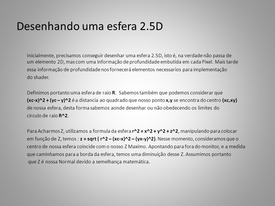 Desenhando uma esfera 2.5D