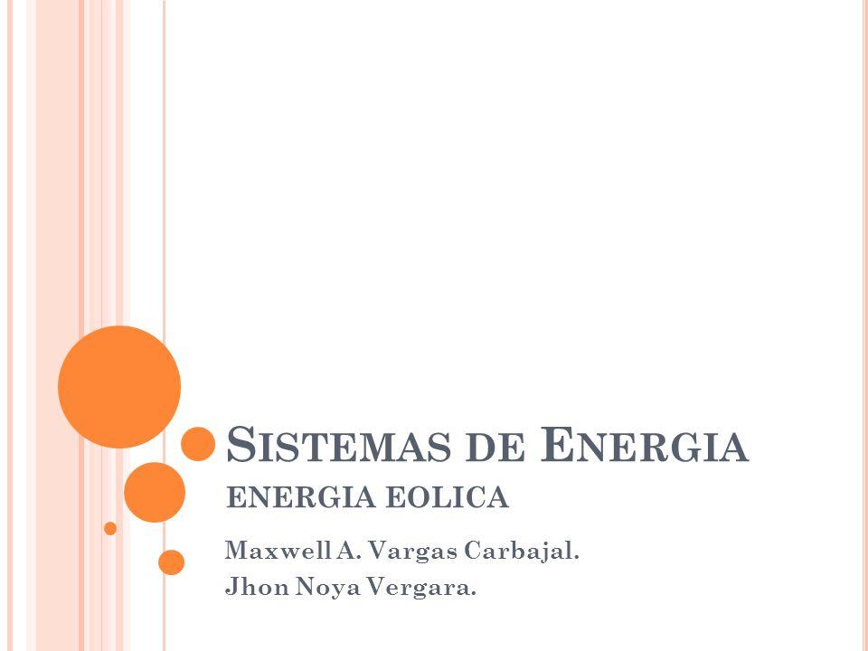 Sistemas de Energia ENERGIA EOLICA Maxwell A. Vargas Carbajal.