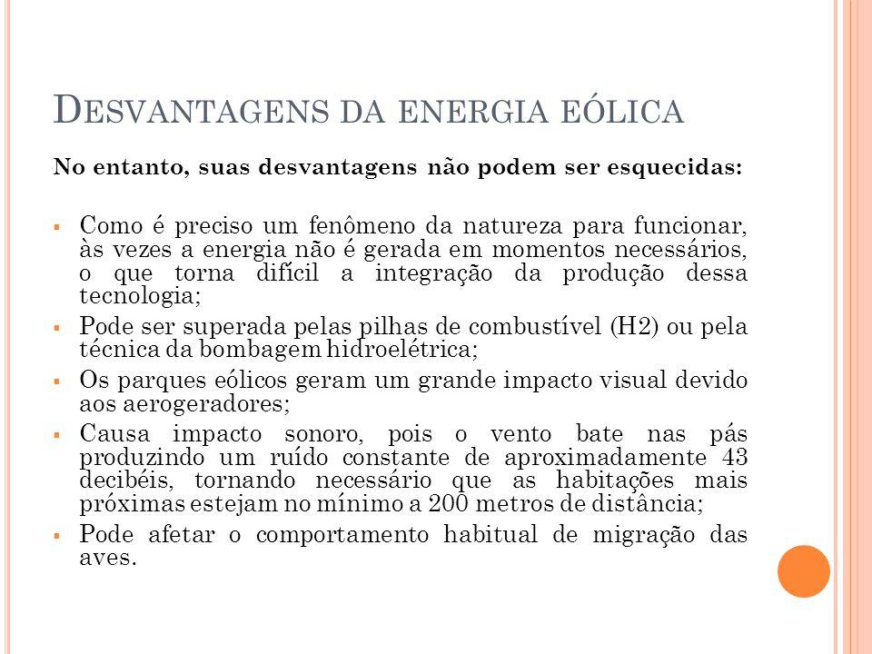Desvantagens da energia eólica