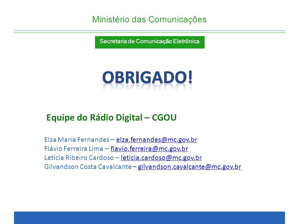 Obrigado! Equipe do Rádio Digital – CGOU