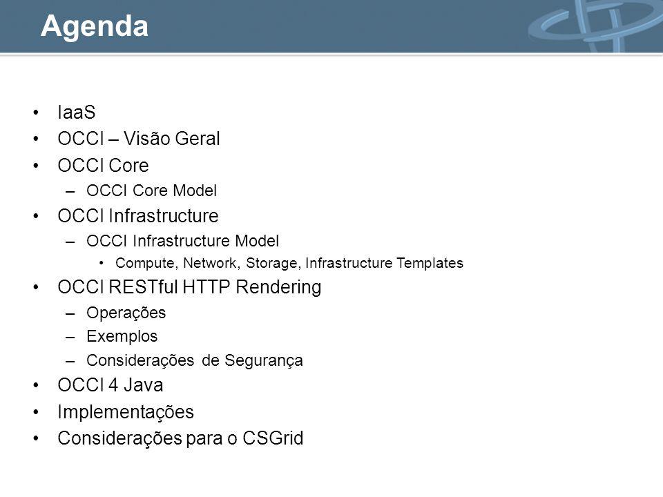 Agenda IaaS OCCI – Visão Geral OCCI Core OCCI Infrastructure