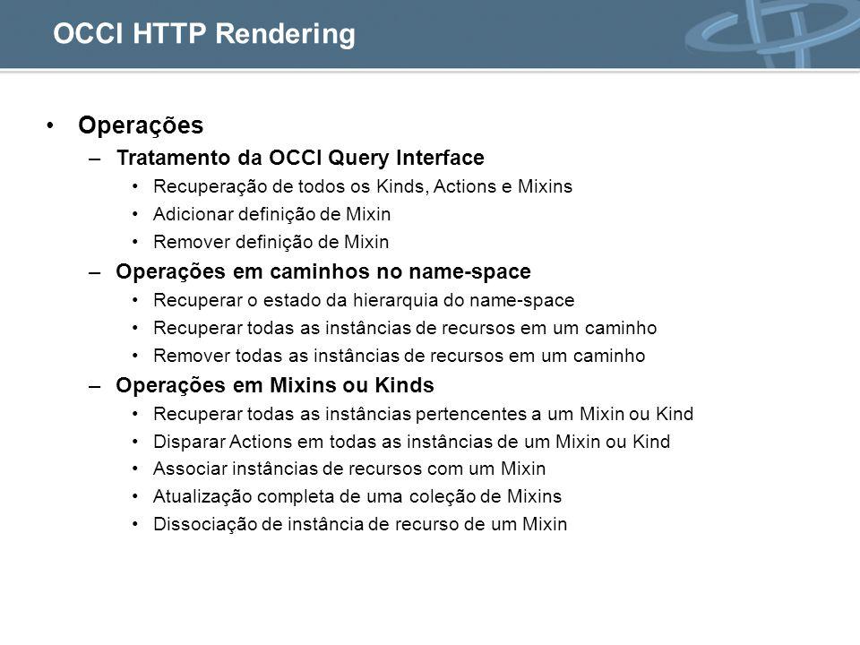 OCCI HTTP Rendering Operações Tratamento da OCCI Query Interface