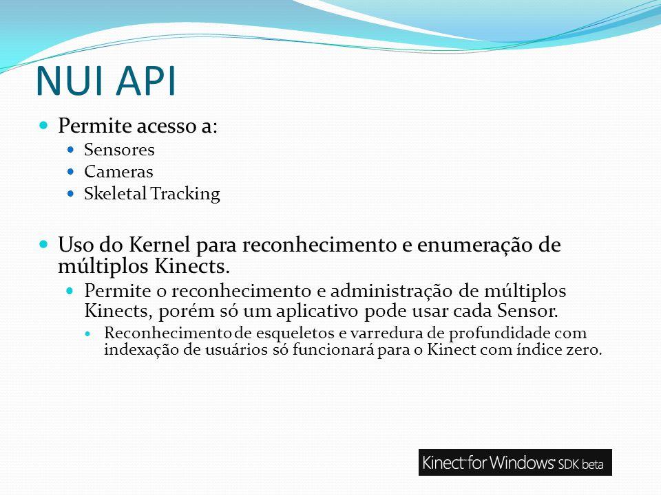 NUI API Permite acesso a: