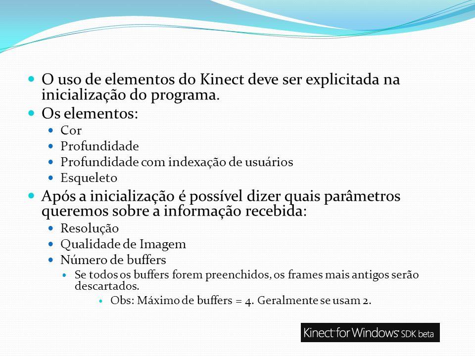 O uso de elementos do Kinect deve ser explicitada na inicialização do programa.