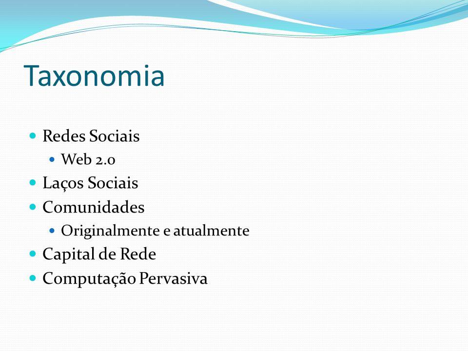 Taxonomia Redes Sociais Laços Sociais Comunidades Capital de Rede
