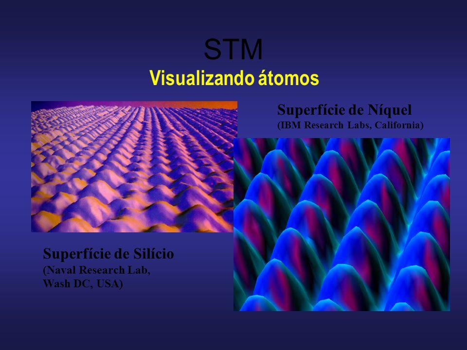 STM Visualizando átomos Superfície de Níquel Superfície de Silício