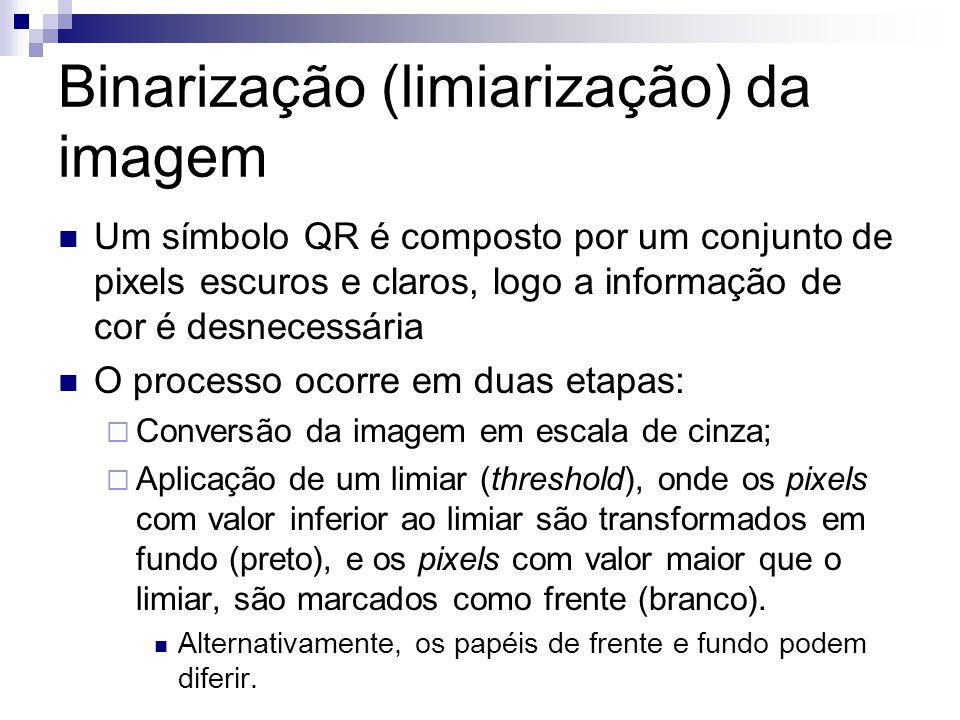 Binarização (limiarização) da imagem