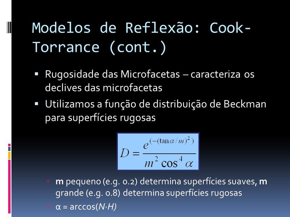 Modelos de Reflexão: Cook-Torrance (cont.)