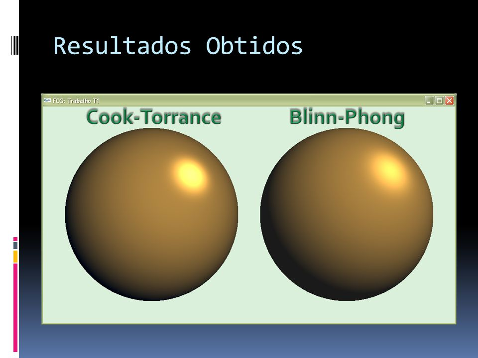 Resultados Obtidos Cook-Torrance Blinn-Phong