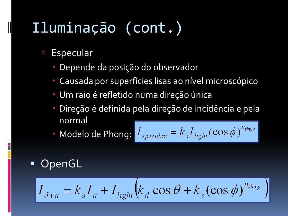 Iluminação (cont.) OpenGL Especular Depende da posição do observador