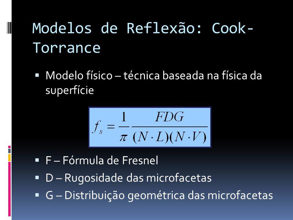 Modelos de Reflexão: Cook-Torrance