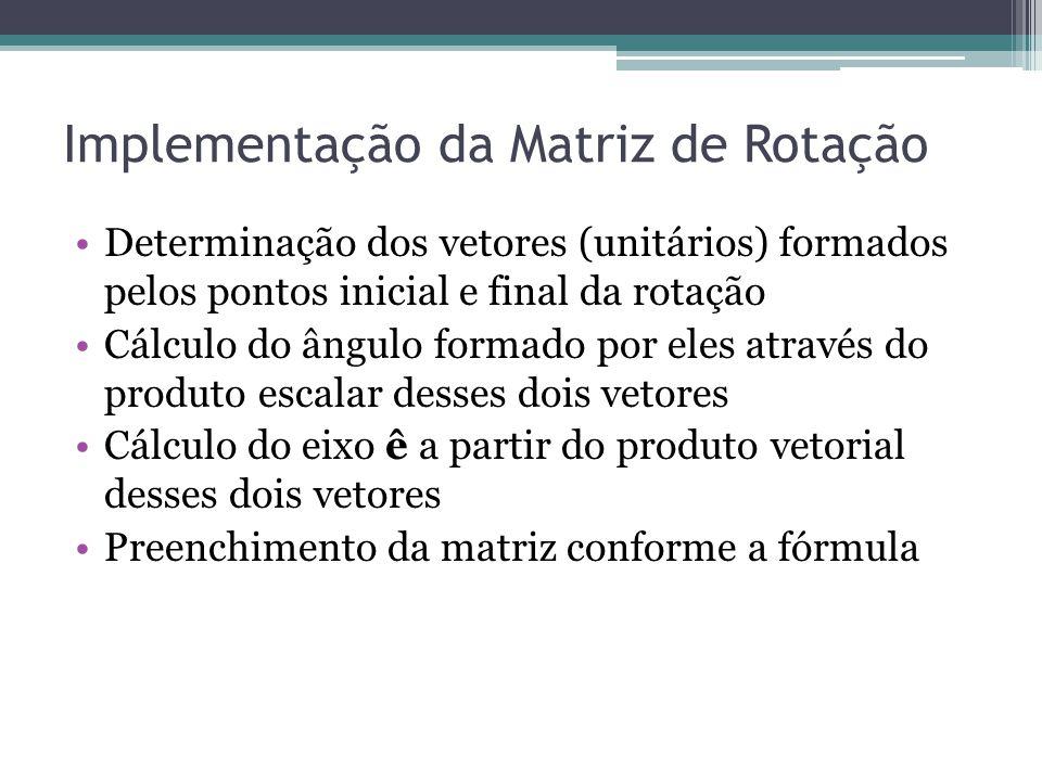 Implementação da Matriz de Rotação