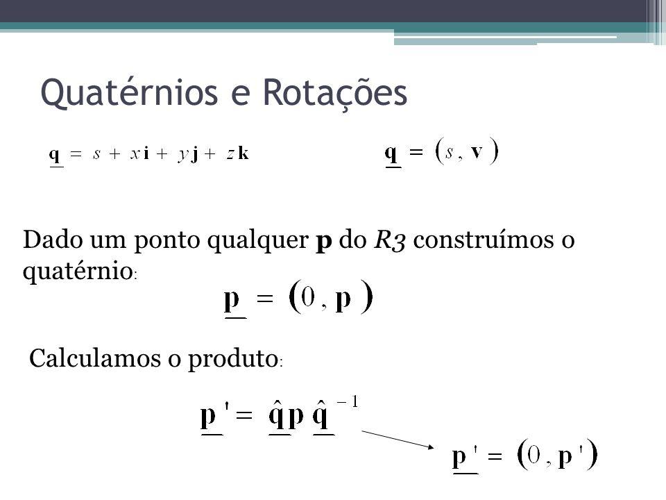 Quatérnios e Rotações Dado um ponto qualquer p do R3 construímos o quatérnio: Calculamos o produto:
