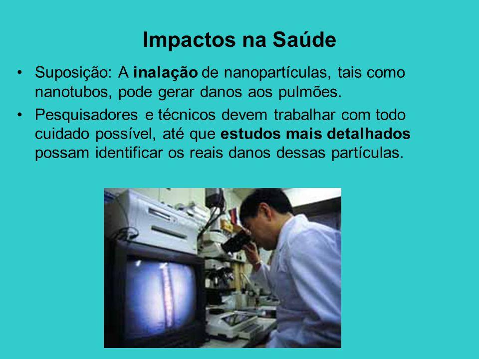 Impactos na Saúde Suposição: A inalação de nanopartículas, tais como nanotubos, pode gerar danos aos pulmões.