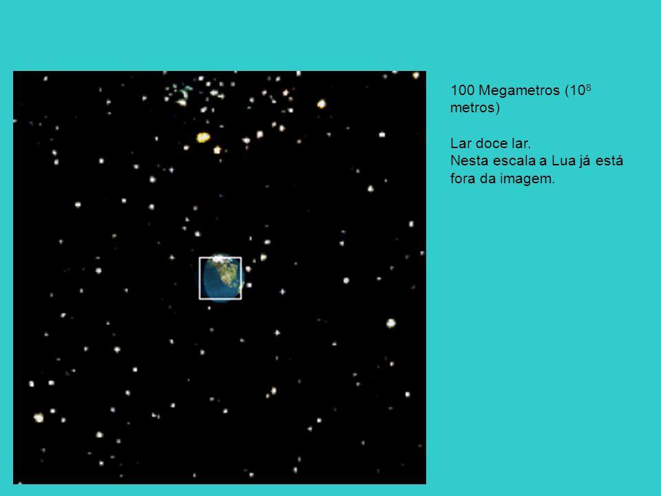 100 Megametros (108 metros) Lar doce lar. Nesta escala a Lua já está fora da imagem.