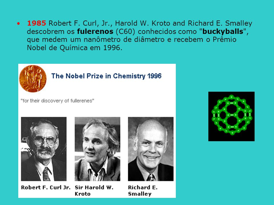 1985 Robert F. Curl, Jr. , Harold W. Kroto and Richard E