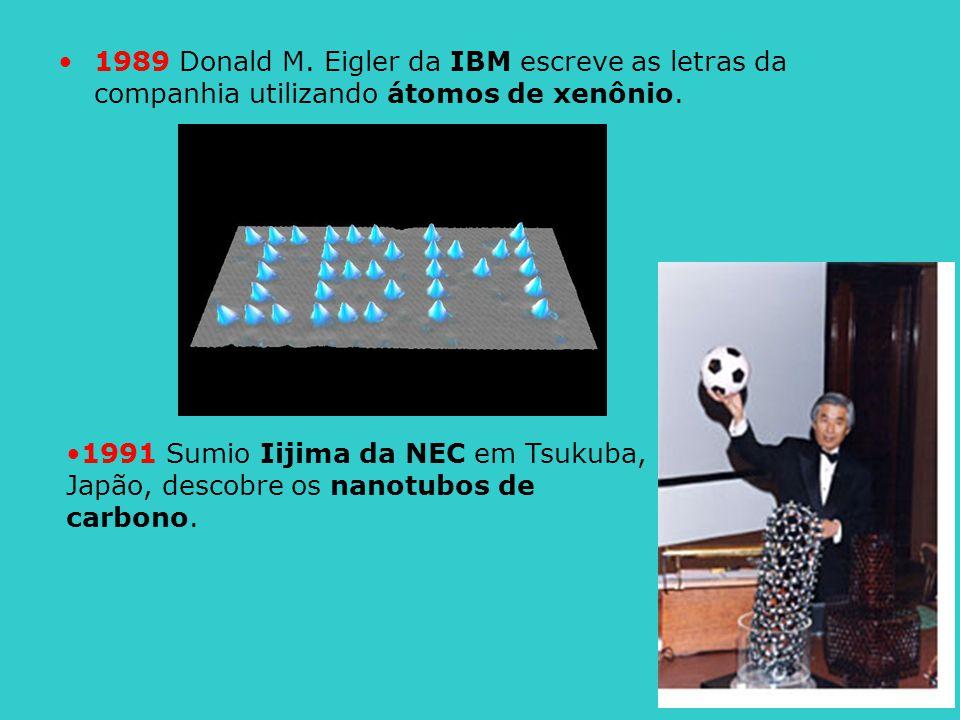 1989 Donald M. Eigler da IBM escreve as letras da companhia utilizando átomos de xenônio.