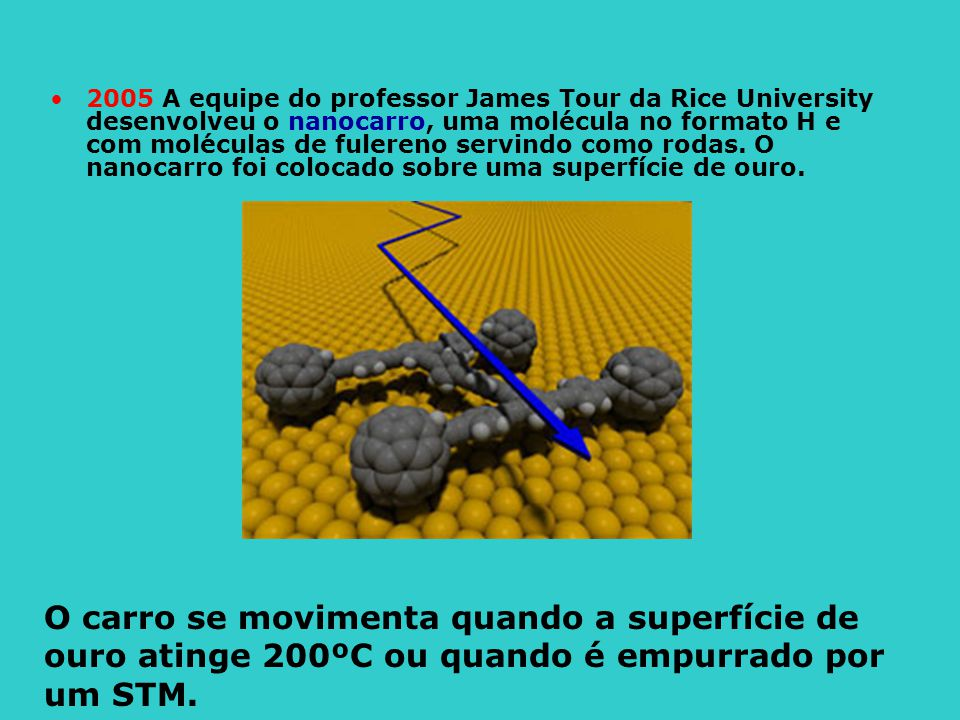 2005 A equipe do professor James Tour da Rice University desenvolveu o nanocarro, uma molécula no formato H e com moléculas de fulereno servindo como rodas. O nanocarro foi colocado sobre uma superfície de ouro.