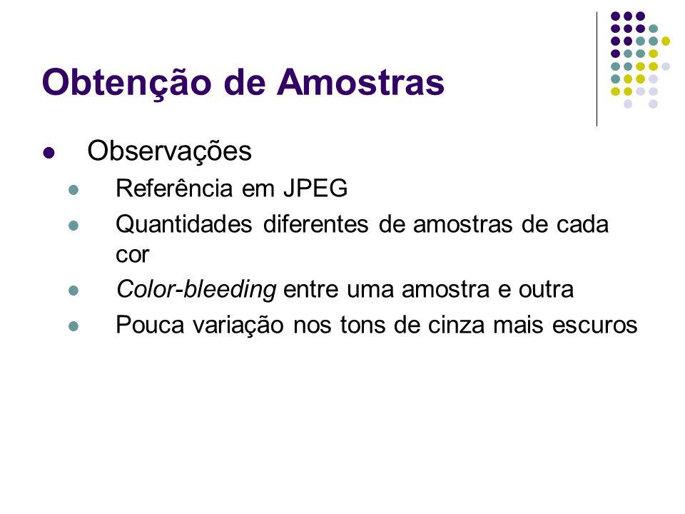 Obtenção de Amostras Observações Referência em JPEG
