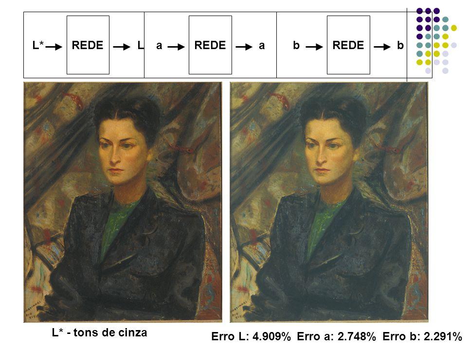REDE REDE REDE L* L a a b b L* - tons de cinza Erro L: 4.909% Erro a: 2.748% Erro b: 2.291%